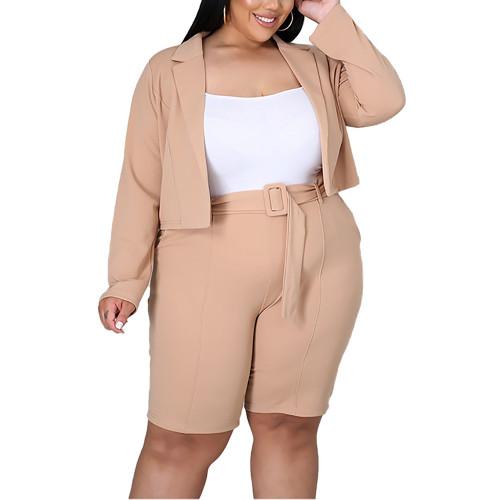 Solid Apricot Turndown Collar Blazer with Shorts Plus Size Set TQK710400-18