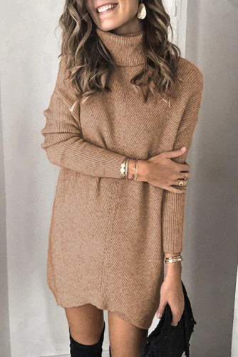 Brown Turtleneck Long Sleeve Knitted Sweater Dress LC227703-17