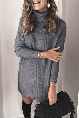 Gray Turtleneck Long Sleeve Knitted Sweater Dress LC227703-11