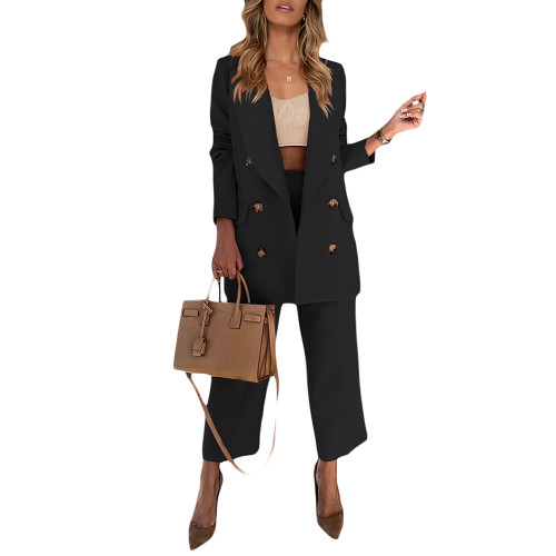 Black Lapel Collar Double Breasted Blazer with Pant Set TQK710398-2