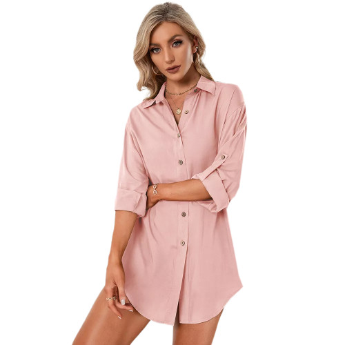 Pink Double Breasted Long Sleeve Blouse TQK220075-10