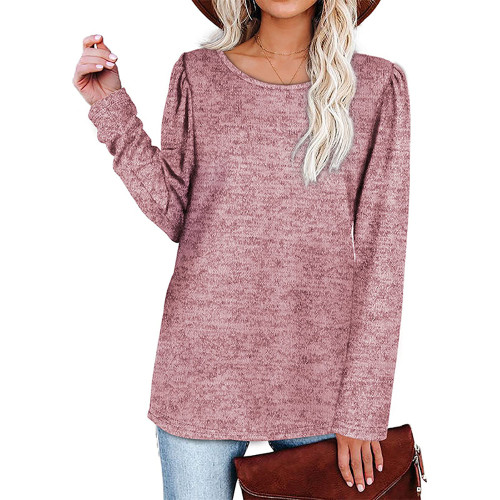 Solid Light Pink Cotton Blend Pleated Long Sleeve Tops TQK210824-39