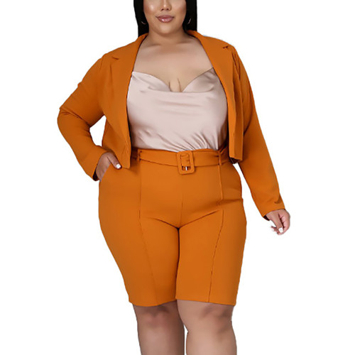 Solid Orange Turndown Collar Blazer with Shorts Plus Size Set TQK710400-14