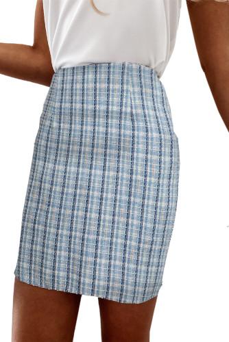 Sky Blue High Waist Tweed Plaid Mini Skirt LC651009-4