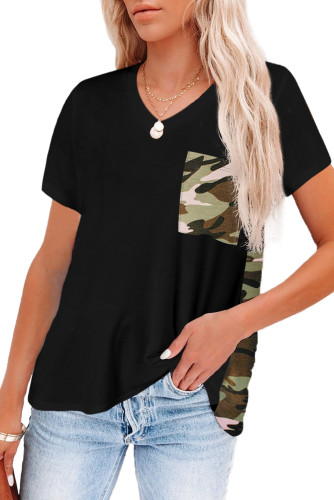 Black Women's Casual Camo Printed Splicing Pullover Pocket Blouse LC253578-302
