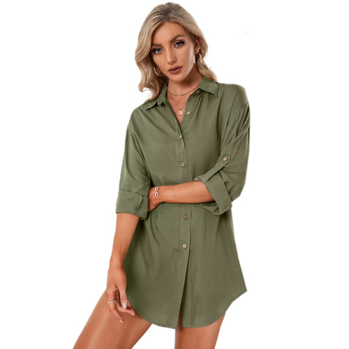 Army Green Double Breasted Long Sleeve Blouse TQK220075-27