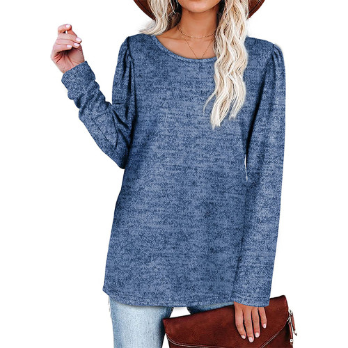Solid Blue Cotton Blend Pleated Long Sleeve Tops TQK210824-5