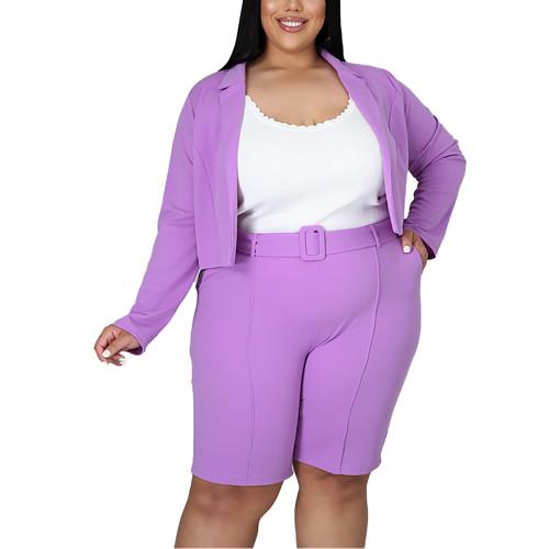 Solid Purple Turndown Collar Blazer with Shorts Plus Size Set TQK710400-8