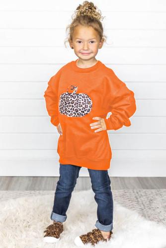 Halloween Pumpkin Print Parent-child Matching Girls Pullover Sweatshirt TZ25644-14