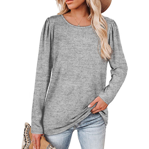 Solid Light Gray Cotton Blend Pleated Long Sleeve Tops TQK210824-25