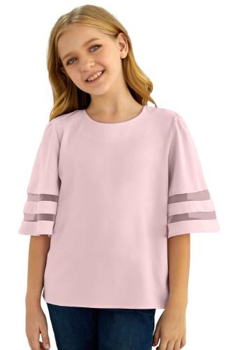 Pink Girl's 3/4 Bell Sleeve Mesh Panel Blouse TZ25081-10
