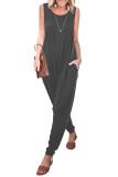Gray Sleeveless Pocketed Harem Jumpsuit LC642141-11