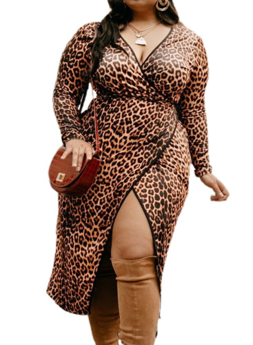 Leopard Wrap V Neck Plus Size Dress with A Slit LC617521-17