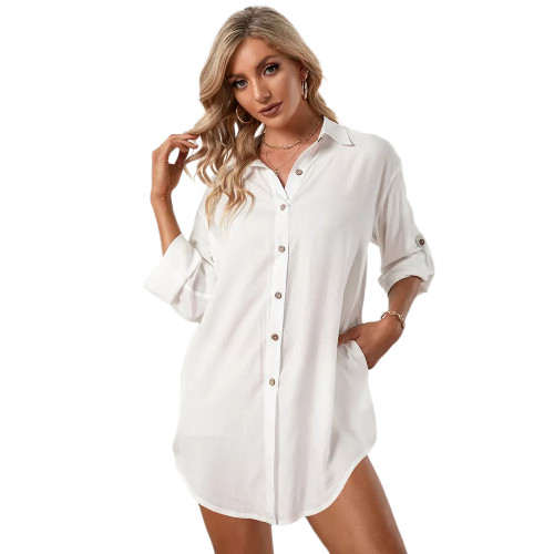 White Double Breasted Long Sleeve Blouse TQK220075-1