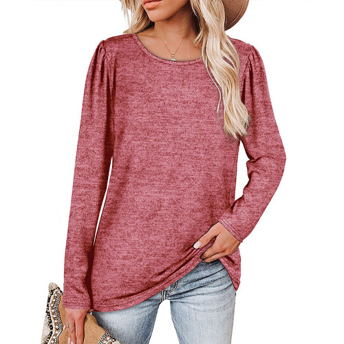 Solid Red Cotton Blend Pleated Long Sleeve Tops TQK210824-3