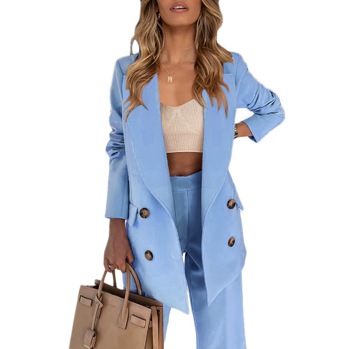Blue Lapel Collar Double Breasted Blazer with Pant Set TQK710398-5