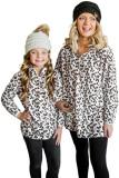 White Family Matching Mom's Leopard Quarter Zip Fleece Sweatshirt LC257206-1