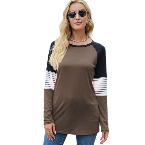 Striped Splice Raglan Sleeve Tops in Coffee TQK210829-15