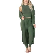 Solid Green 3pcs Tank, Cardigan and Pant Sports Set TQK710402-9