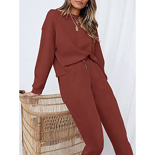 Rust Red Waffle Long Sleeve and Pants Lounge Set TQK710401-33