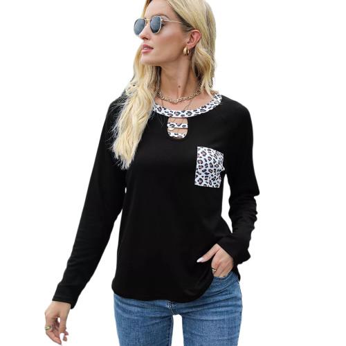 Black Splice Leopard Raglan Sleeve Tops TQK210828-2