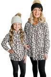 White Family Matching Girl's Leopard Quarter Zip Fleece Sweatshirt TZ25640-1