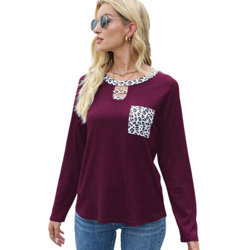 Rosy Splice Leopard Raglan Sleeve Tops TQK210828-6