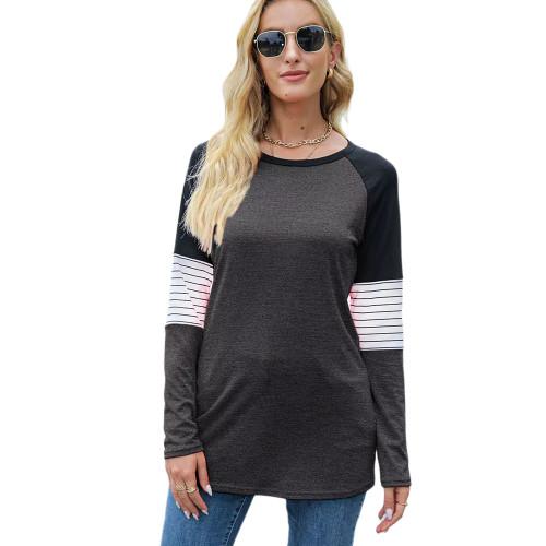Striped Splice Raglan Sleeve Tops in Dark Gray TQK210829-26
