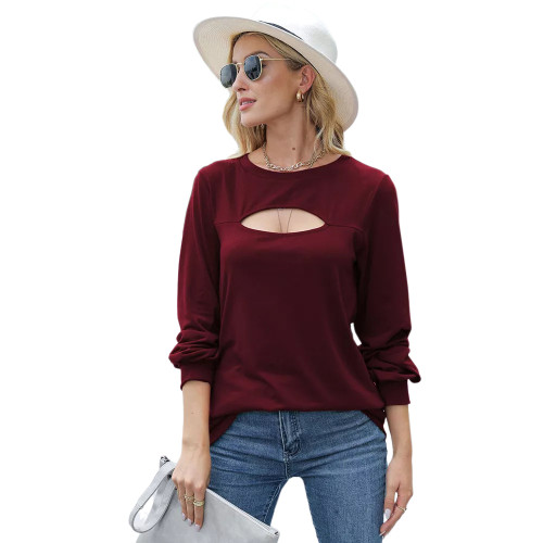 Wiine Red Hollow Out Lantern Sleeve Round Neck Tops TQK210827-23