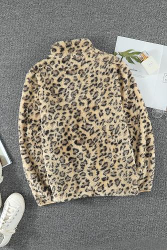 Family Matching Girl's Leopard Quarter Zip Fleece Sweatshirt TZ25640-17