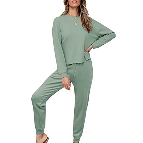Pea Green Waffle Long Sleeve and Pants Lounge Set TQK710401-64