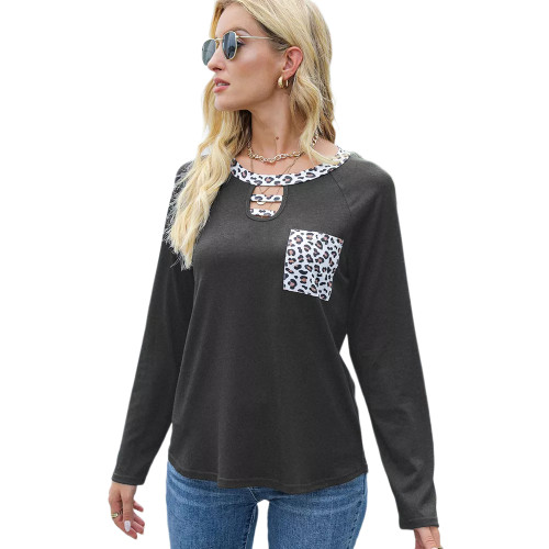 Gray Splice Leopard Raglan Sleeve Tops TQK210828-11