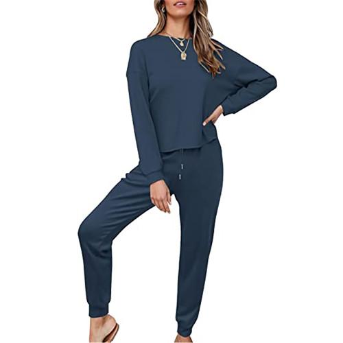 Navy Blue Waffle Long Sleeve and Pants Lounge Set TQK710401-34