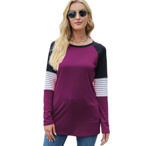 Striped Splice Raglan Sleeve Tops in Rosy TQK210829-6