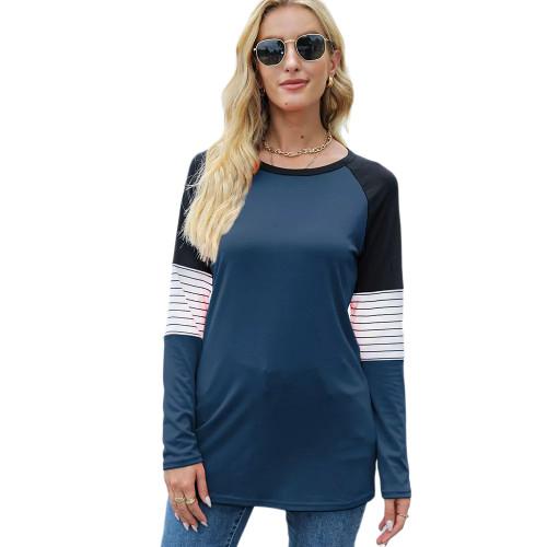 Striped Splice Raglan Sleeve Tops in Blue TQK210829-5