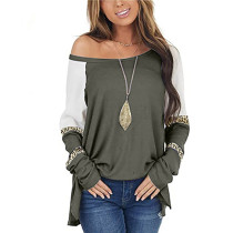 Army Green Color Block Loose Long Sleeve Top TQK210833-27