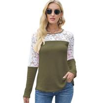 Army Green Waffle Splice Lace Long Sleeve Tops TQK210834-27