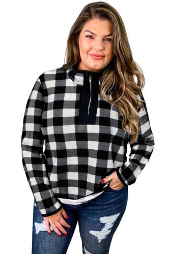 Plaid Print Mock Neck Long Sleeve Zipper Plus Size Sweatshirt LC2518736-11