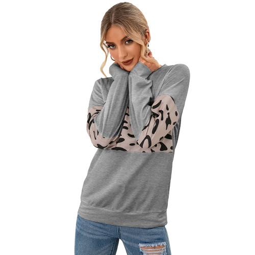 Light Gray Contrast Leopard Pullover Sweatshirt TQK230323-25