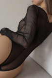 Black Lace See-through Sheer Long Sleeve V Neck Bodysuit LC32858-2