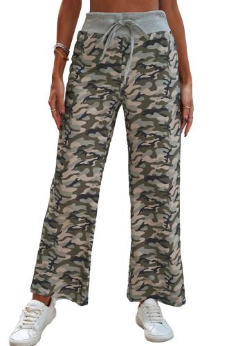 Camouflage Print Drawstring Waist Wide Leg Pants LC772420-9