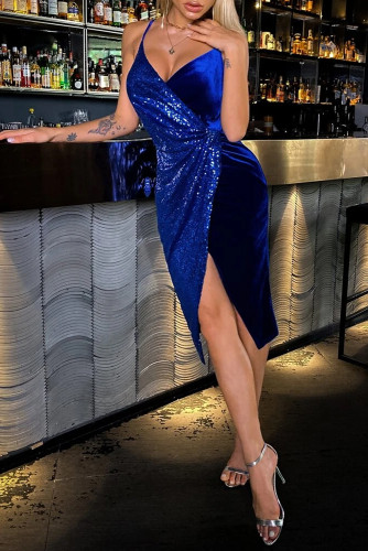 Blue Deep V Neck Sequins Side Split Spaghetti Straps Midi Dress LC617295-5
