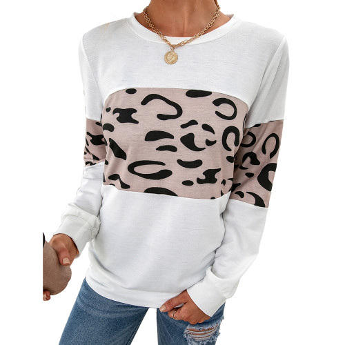 White Contrast Leopard Pullover Sweatshirt TQK230323-1