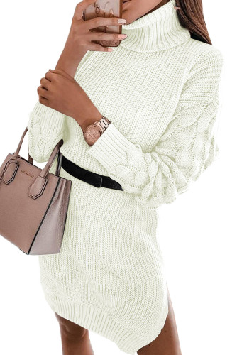 White Plain Turtleneck Sweater Dress with Slits LC273155-1