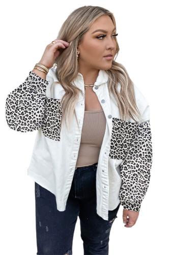 White Plus Size Leopard Splicing Button Denim Jacket LC851133-1