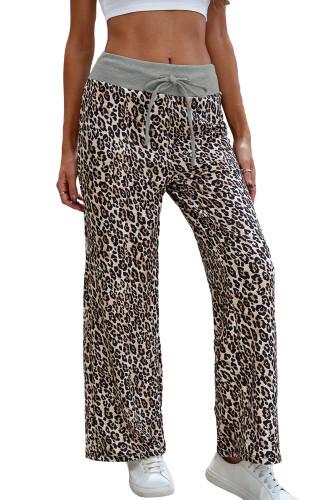 Leopard Print Drawstring Waist Wide Leg Pants LC772420-20