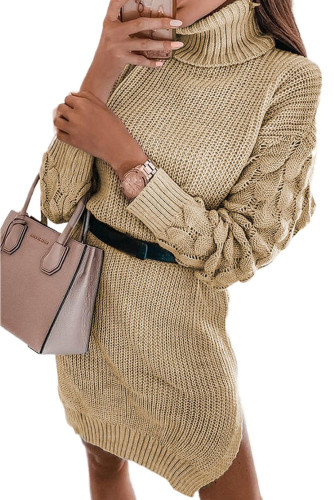 Khaki Plain Turtleneck Sweater Dress with Slits LC273155-16