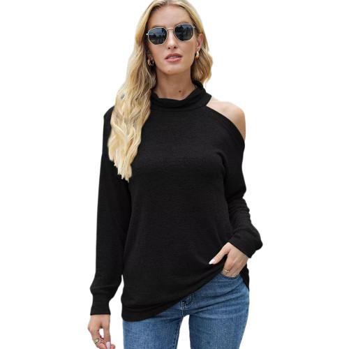 Black Knit Halter Cold Shouder Long Sleeve Top TQK210835-2