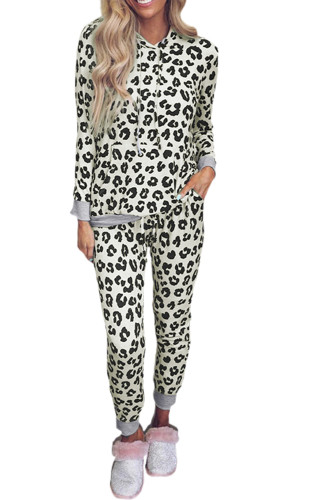 Leopard Print Hooded Top and Slim-fit Pants Loungewear LC4512063-16