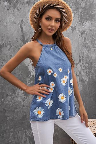 Blue Daisy Floral Print Halter Denim Tank Tops For Women LC2561649-5